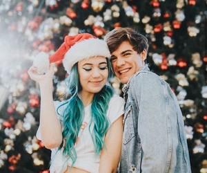 blue hair, christmas, and festive image