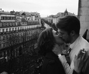 couple, kiss, and black and white image