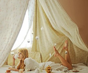 girl, tea, and bed image