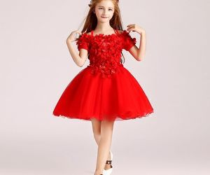 ball gown, little girl, and red image