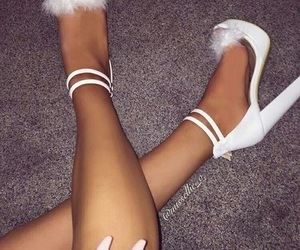 fluffy, heels, and shoes image