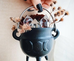 witch, crystal, and cauldron image