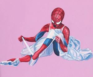 art, painting, and spiderman image