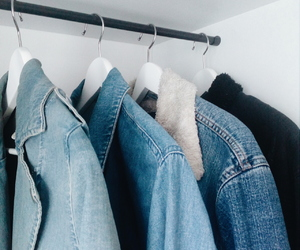 closet, collection, and denim jacket image