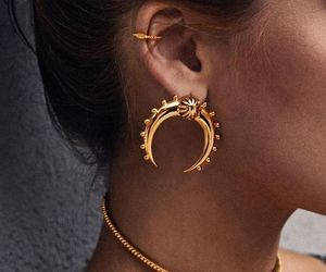 fashion, gold, and earrings image