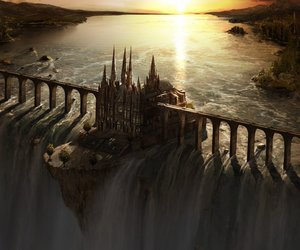 castle, fantasy, and waterfall image