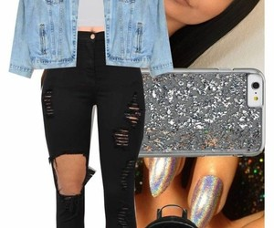 fashion, jean jacket, and Polyvore image