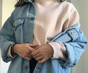 baby pink, denim, and fashion image