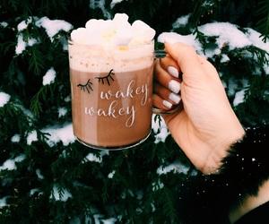 christmas, coffee, and eyelashes image