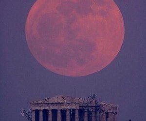moon, Greece, and Athens image