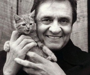 Johnny Cash, cat, and kitten image
