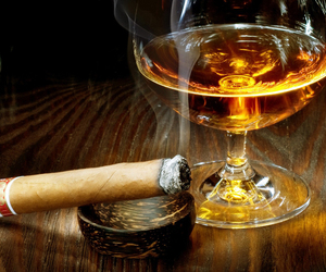 cigar, Cognac, and snifter image