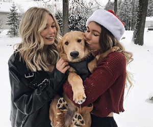 friends, dog, and girl image