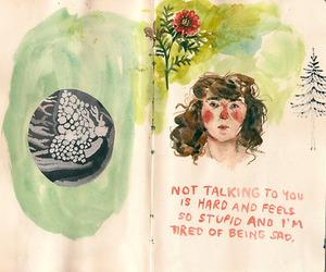 drawing, art, and sad image