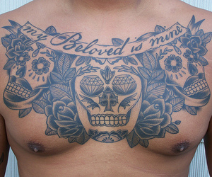 chest, tattoo, and text image