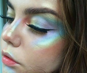 makeup, beauty, and rainbow image