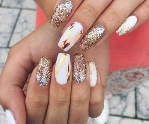 glitter, rose gold, and nails image