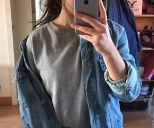 boyfriend jeans, fashion, and jeans jacket image