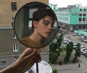 boy, city, and mirror image