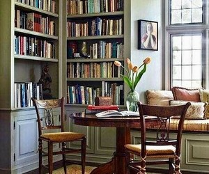 bookshelves, home decor, and chairs image