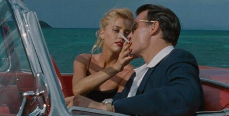 couple, johnny depp, and cigarette image