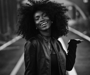 girl, curls, and b&w image