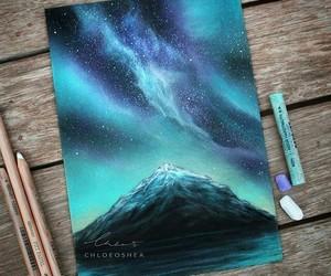art, blue, and horizon image