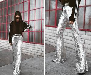 sequin, streetstyle, and bellbottoms image