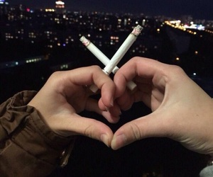 love, cigarette, and heart image