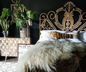 bedroom, fur, and gold image