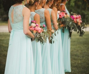bridesmaids, lace bridesmaid dress, and bridesmaid dress image