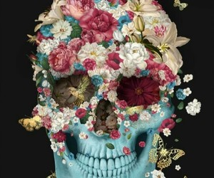skull, flowers, and butterfly image