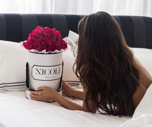 hair, flowers, and roses image