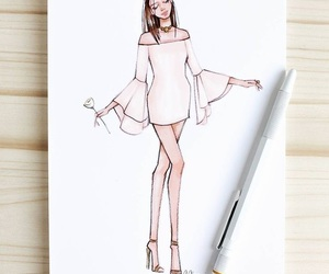 drawing, fashion, and dress image