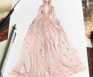 drawing, dress, and fashion image