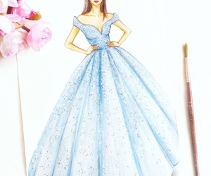 drawing, dress, and elegance image