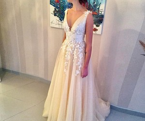 bride, wedding gowns, and lace dress image