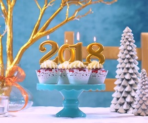 candle, new year, and 2018 image