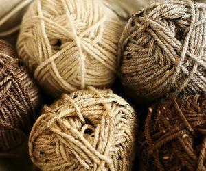 yarn, brown, and knitting image