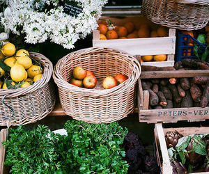 fruit, apple, and vegetables image