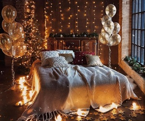 room, light, and balloons image