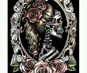 flowers, frame, and skeleton image