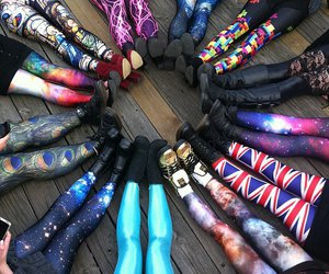 leggings, galaxy, and shoes image