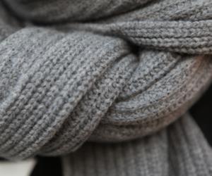 fashion, scarf, and grey image