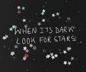 quotes, stars, and dark image