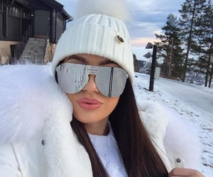 girl, Versace, and winter image