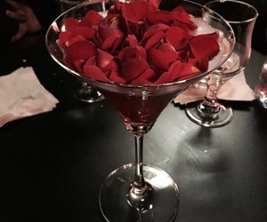 drink, rose, and glass image
