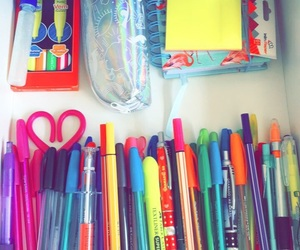 colorful, home office, and pen image
