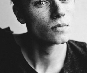 boy, freckles, and black and white image