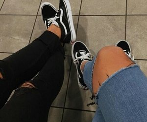 fashion, ripped jeans, and vans image